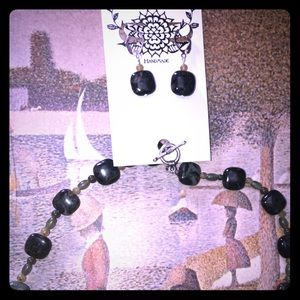 Kambaba Jasper Necklace with Matching Earrings